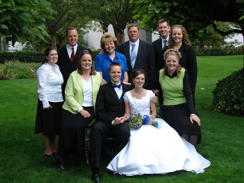 The J&C Thomas family on the Salt Lake Temple grounds (missing one son in law and the 6 grandchildren)