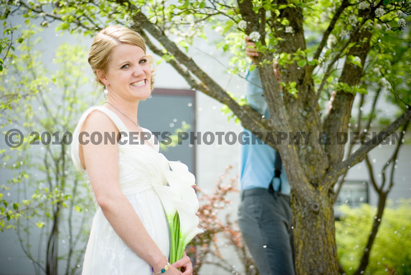 Mark was shaking flower petals onto his bride... as if she needed help looking dreamy!