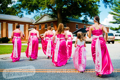 Bridesmaids strutting their stuff.