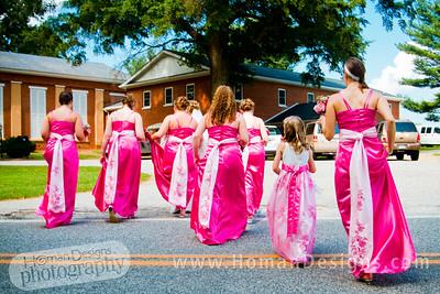 Bridesmaids strutting their stuff.