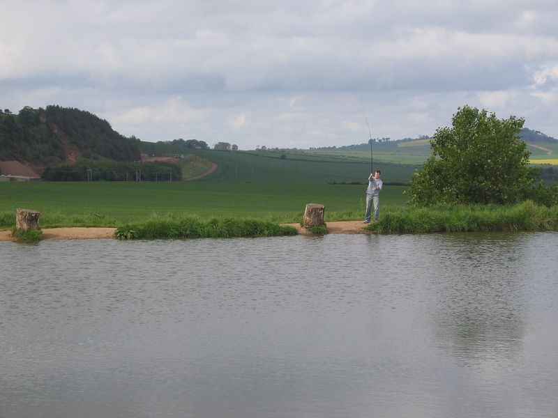 The groom, fishing