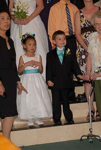 The flower girl and the ring bearer.