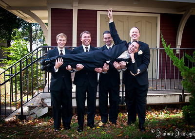 Jonathan, Randy, Dom and RJ holding the Bachelor, Mike.
