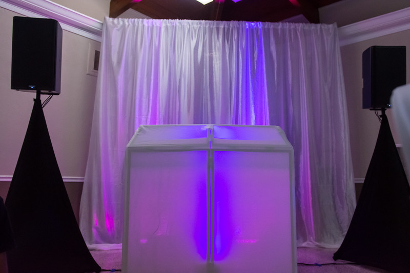 Presentation is everything and our premium sound system will always come dressed up with scrims to hide unsightly cables from plan view.  We also have DJ facades to dress up our work area to give your DJ an upscale look.  Call 813-330-0104 to book your DJ package today!