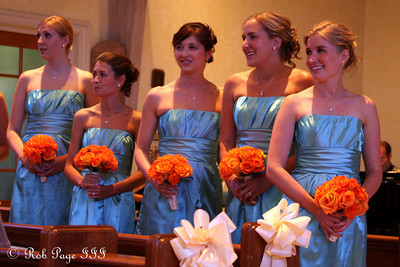 The bridesmaids watch Missy walk down the aisle - Chagrin Falls, OH ... July 3, 2010 ... Photo by Rob Page III