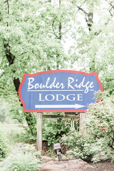 Photo of romantic springtime wedding at the Boulder Ridge Lodge at Liberty Mountain Resort in Carroll Valley, PA. Purple and navy wedding colors. Fitted mermaid wedding dress. Outdoor wedding. Central PA Wedding Photography.