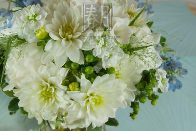 Delicate White & Blue Bride's Bouquet