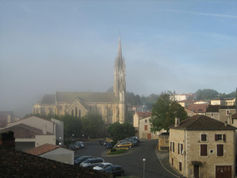 Fog approaching Fumel's church