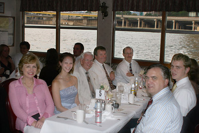 Hanging out at the reception waiting for dinner.  (L-R) Joyce P, Emily Conger, RWP Sr, Chris M, Rich C, RWP Jr, RWP III - Pittsburgh, PA ... September 9, 2006 ... Photo by Unknown
