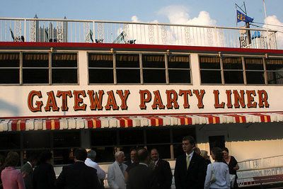 Preparing for the reception on the Gateway Party Liner - Pittsburgh, PA ... September 9, 2006 ... Photo by Rob Page Jr.