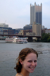 Emily along the Monongahela River with the PPG Building behind - Pittsburgh, PA ... September 9, 2006 ... Photo by Rob Page III