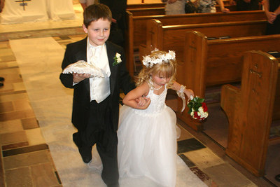 The Ring Bearer, Carson Bassler, and the Flower Girl, Chloe Steck at the wedding of Natalie Page and Mike Elwarner - Carnegie, PA ... September 9, 2006 ... Photo by Rob Page Jr.