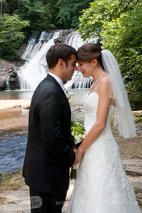 Nick and Hannah in front of the waterfall where they got engaged.
