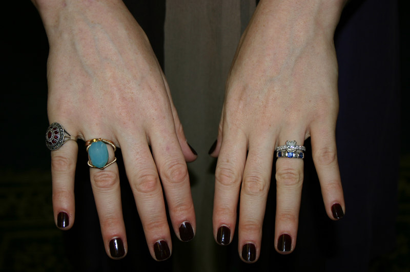 Starting from the left: something borrowed (Sona's ruby ring), something new (Chrysophase ring), something old (Great Aunt Helen's ring), something blue (Sapphire ring, 21st birthday gift from Pam).