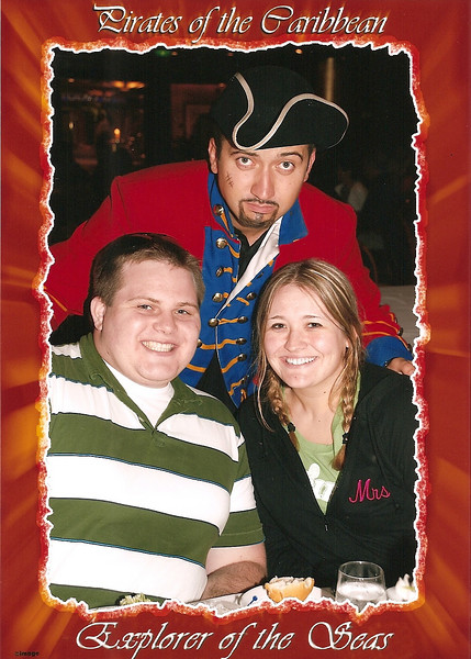 Our little pirate friend...the first night on the ship, in the dining room.