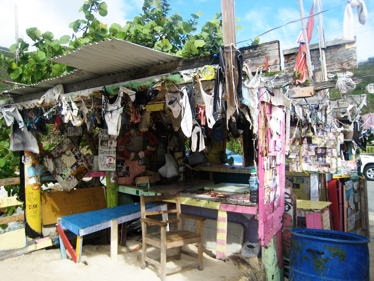 Bomba's shack - he throws full moon parties where apparently lots of panties get left behind