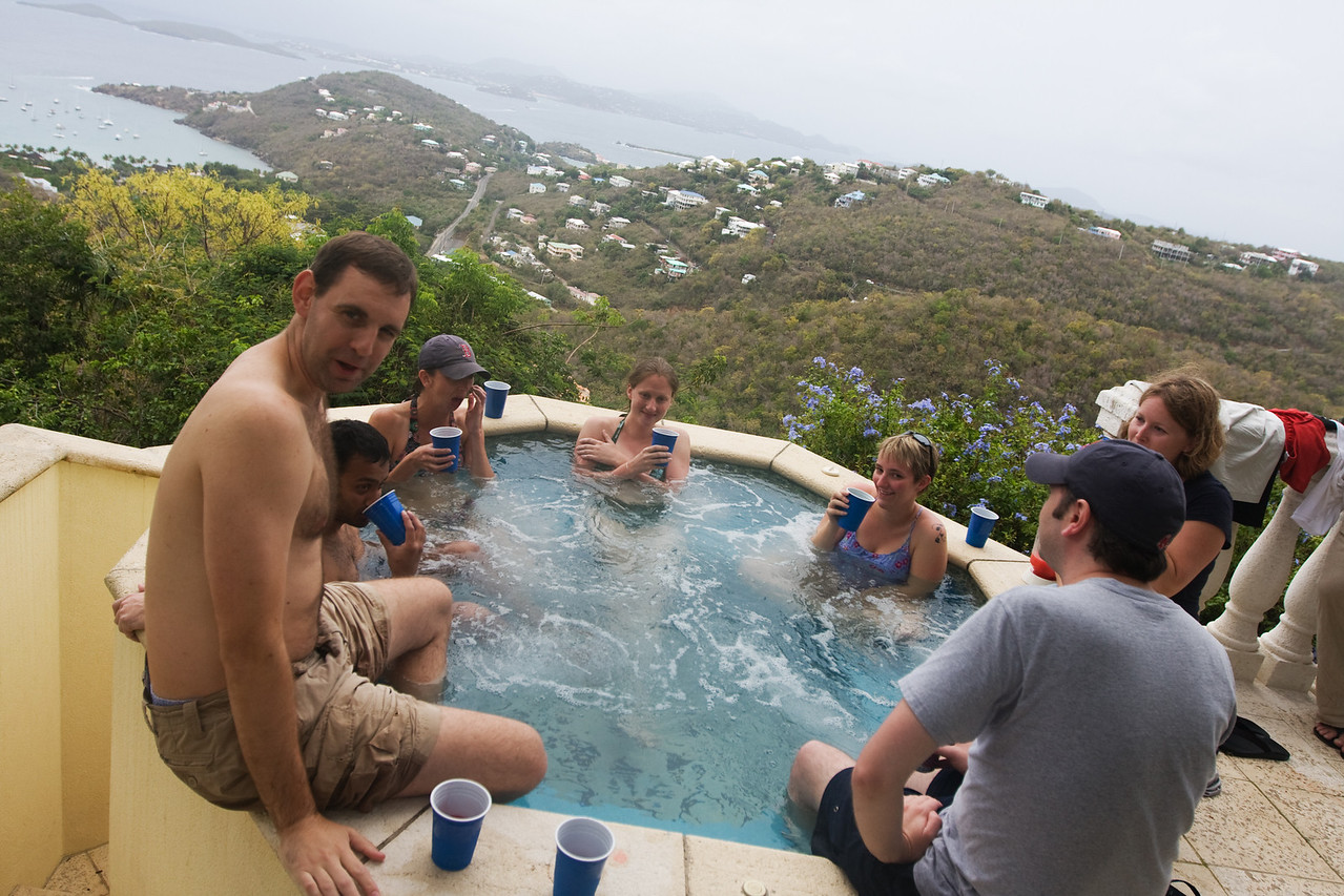 a hot tub with a view, and a dave (at C'est Blue)