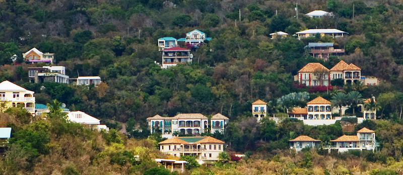 view of Virgin Grande Estates from the St Thomas ferry.  Kalorama is the angular one on the left, Rapture is at the same elevation on the right side, and C'Est Blue is immediately below Rapture, with three very spread-out buildings.  Didn't manage to get Sonadores in the frame.