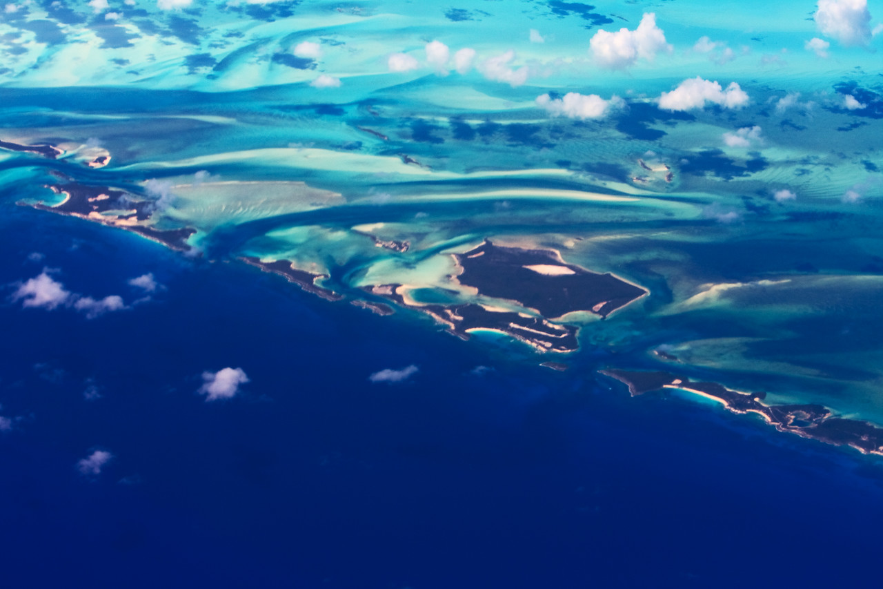 random little atolls in the Caribbean, seen on the way down for the wedding