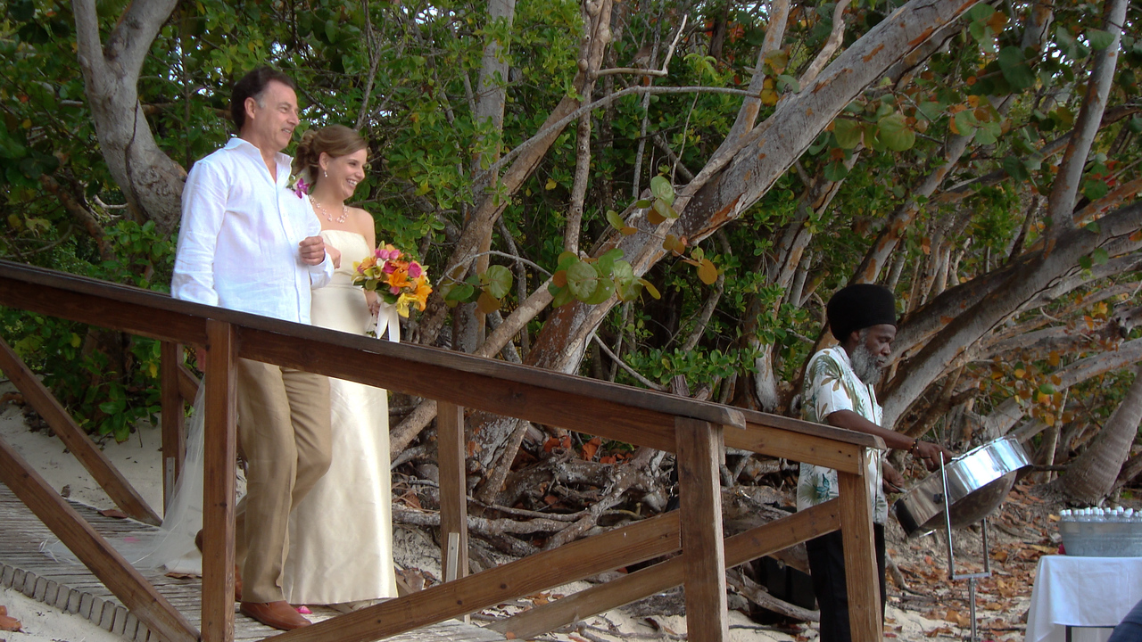 father, bride, and steel drum