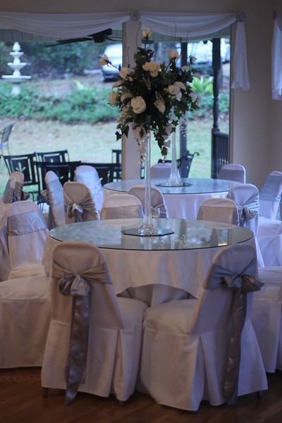 The guests ended up sitting at these tables not just for the reception but also for the ceremony.