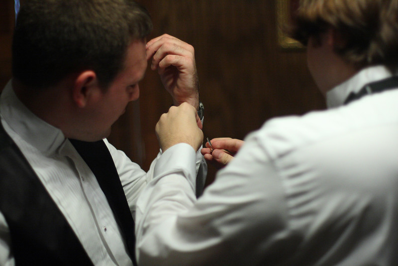 Mitch was also befuddled by the cuff links until Gary came to his aid.