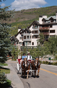 Arriving in the horse drawn carriag