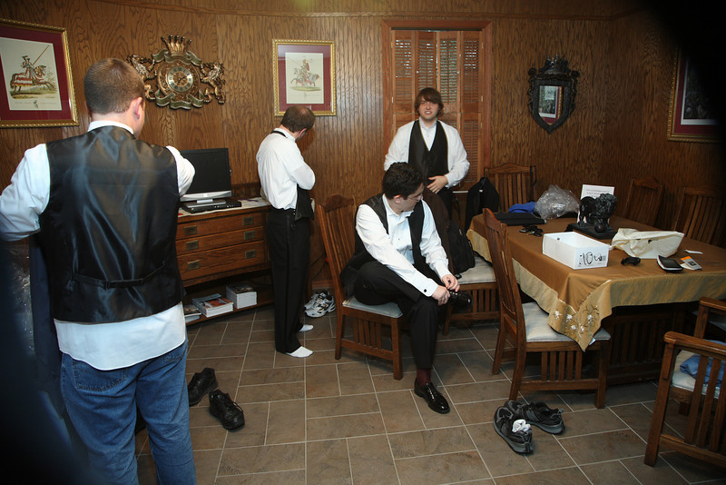 Jude and the groomsmen used teamwork to discover the mysteries of tuxedos.