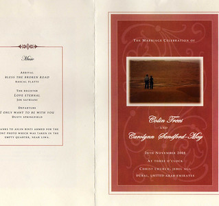 Our Order of Service.  Azlin's gorgeous photo she took of us in the Empty Quarter last weekend is on the front cover.