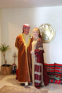Ready to leave for the church.  My dress is Bahraini and the veil was made here in Dubai.  Colin's wearing a traditional style dishdash (made in Satwa of course) with a brown top coat called a bisht.