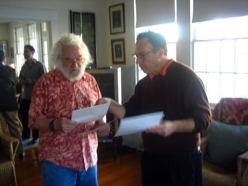 Thorny and David review the paperwork.