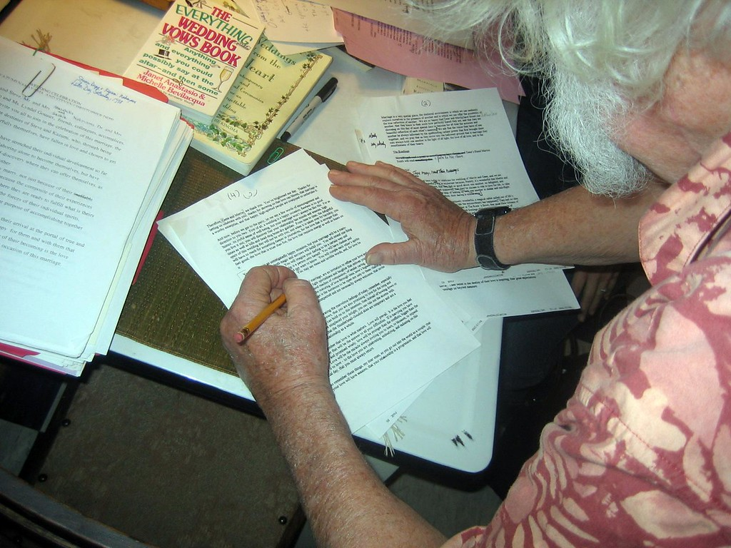 Thorny makes a few last minute edits to the ceremony. (photo Matt Andeson)
