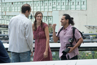 "Nestor, talking with couple in Pre-wedding shoot on the ""Highline"" in NYC  circa 2011"