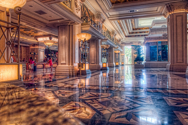 The lobby of the Mandalay Bay. Not a place to sit for miles (or at least till the slot machines in the casino)!
