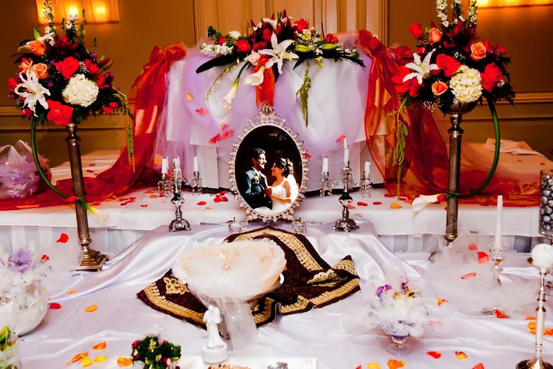 Iranian Wedding Table Setup.<br /> Indoor Persian wedding ceremony.
