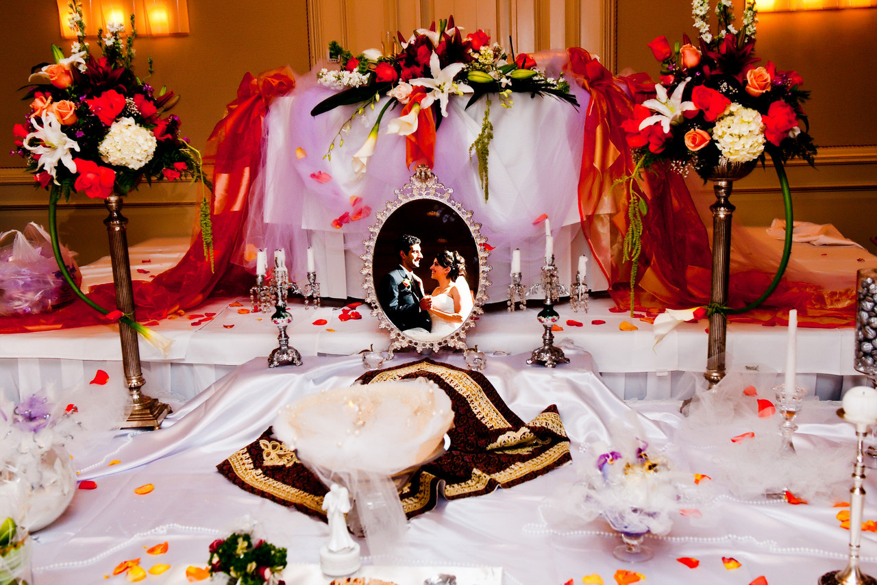 Iranian Wedding Table Setup.<br /> Indoor Persian wedding ceremony.