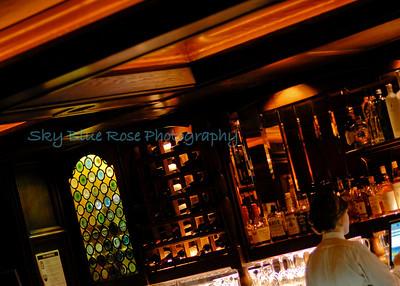 The bar runs along the far right side of the restaurant.