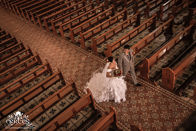 Wedding Recessional  in the aisle.