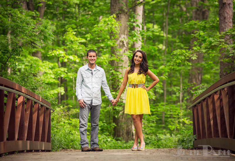 beautiful engagement photos in the woods Pilcher Park
