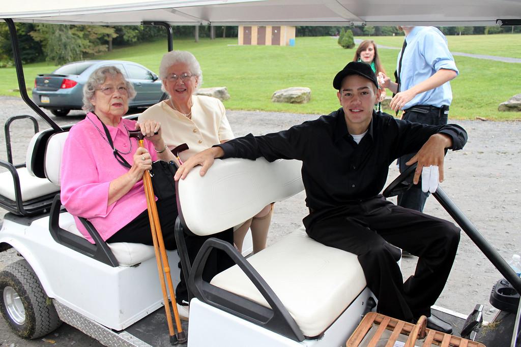 Aunt Doris and Grandma prepare for a ride.