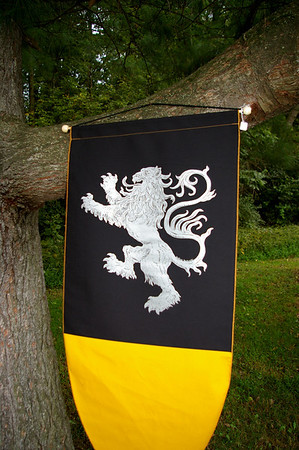 One of three Saxon banners hung around the ceremony space.