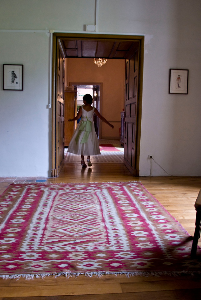 Running through the Chateau before the wedding.