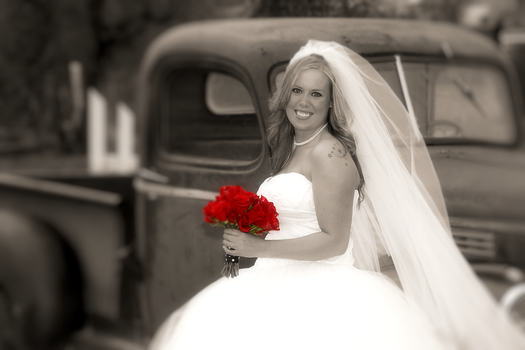 bride and ol truck  roses colored only
