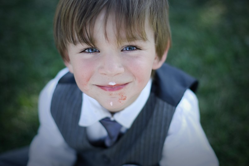 Mighty handsome little ring bearer complete with the after affects of a yummy desert