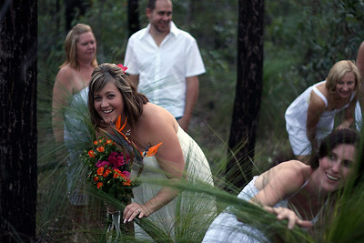 Fun and games.  Natarsha and Ryans Wedding, Brisbane, Australia, December 2007. Raven Street Reserve at McDowall. Photography by Trent Williams.