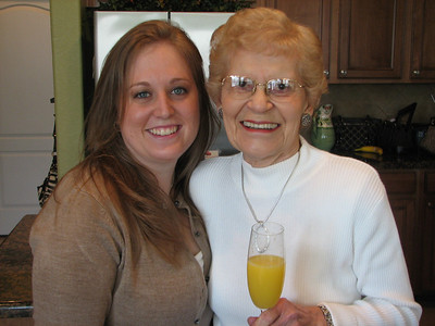 Kimberly is Jerry's sister.  She is also one of my most favorite students ever!  She was a fabulous Algebra student!  She served as the gracious bartender at Samantha's shower.  And made AWESOME mimosas!  This is Kimberly with her grandma, Lucille.
