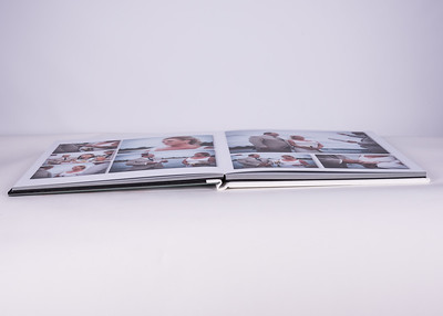 Photo Album White Leatherette with Crystal Cover Lay Flat