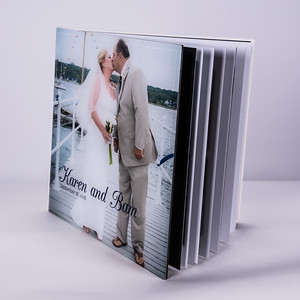 Photo Album White Leatherette with Crystal Cover