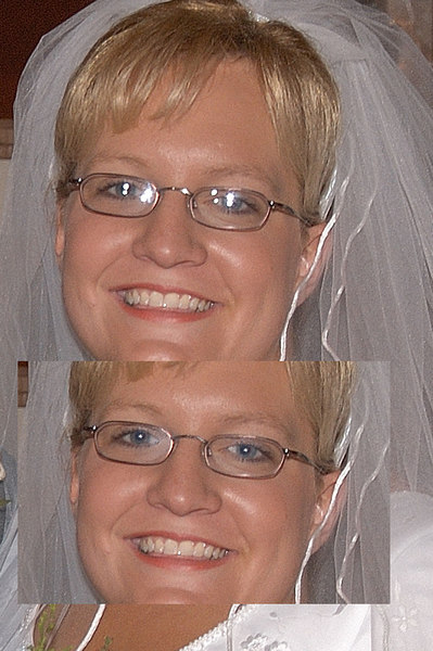 We do our best to minimize reflections in glasses, but sometimes and/or in some shots it is unavoidable. With this particular bride, no matter how the head was tilted, she had reflection. One thing to be careful with when trying to avoid reflections in glasses by tilting the chin down is to lean forward just a bit to avoid a double chin.