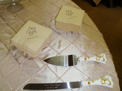 Jane had special engraving done for the cake knife and server to be used at the party.